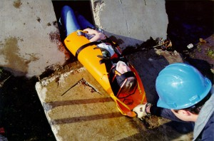 Half Sked confined space rescue stretcher